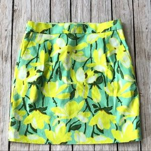 J crew green yellow floral pocketed skirt Sz. 00